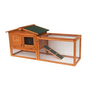 62'' Coop Rabbit Hutch Wood Chicken Tractor for Small Animals