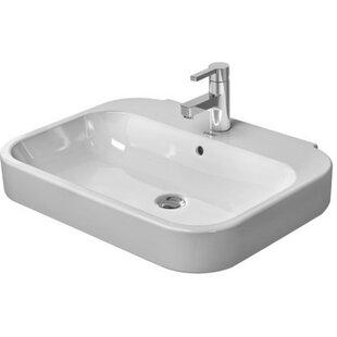 Happy D. Ceramic 26 Wall Mount Bathroom Sink with Overflow Duravit