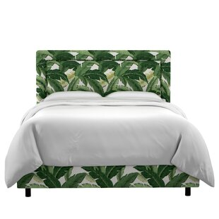 Promfret Swaying Palm Aloe Border Linen Upholstered Panel Bed
