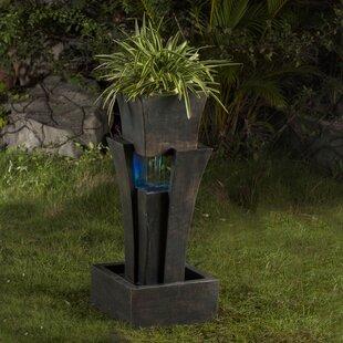 Jeco Inc. Resin/Fiberglass Tiered Raining Fountain with LED Light