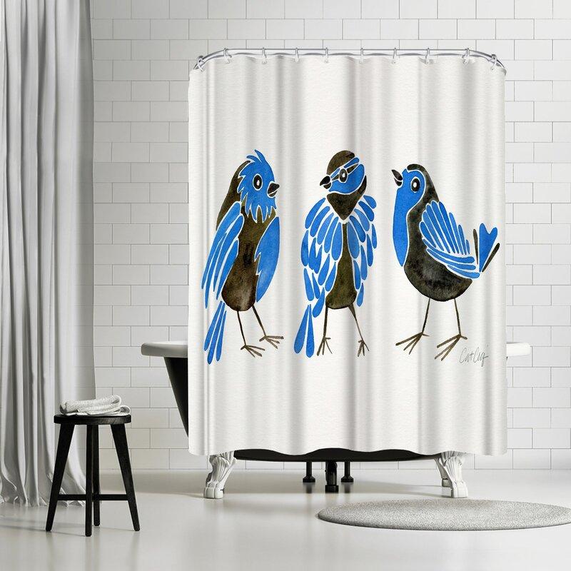 East Urban Home Cat Coquillette Finches Shower Curtain Wayfair