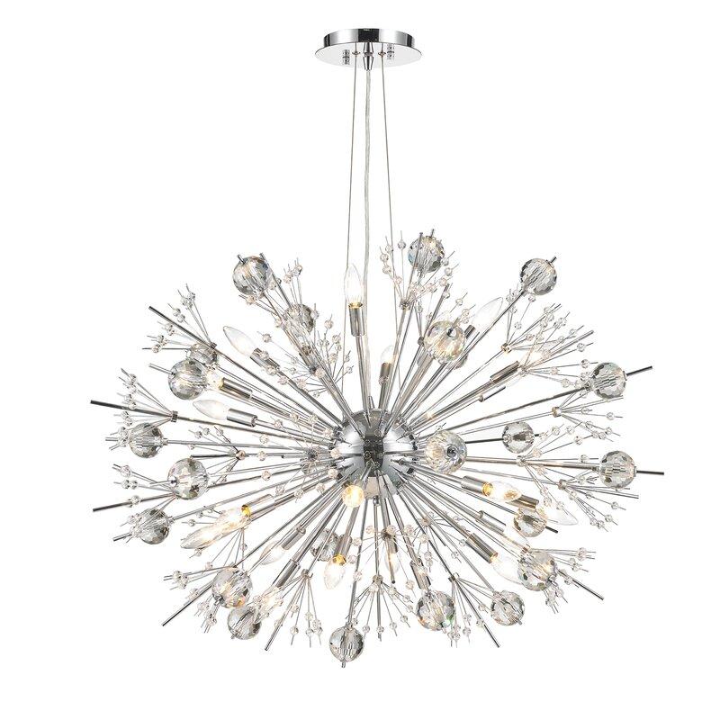 Everly Quinn Stephaine Crystal 24-Light Sputnik Chandelier ...