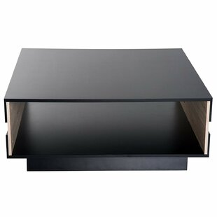 Orrington Two Tone Wooden Modern Rectangular Living Room Coffee Table With Storage - Black / Oak