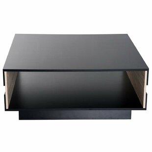 Orrington Two Tone Wooden Modern Rectangular Living Room Coffee Table With Storage - Black / Oak