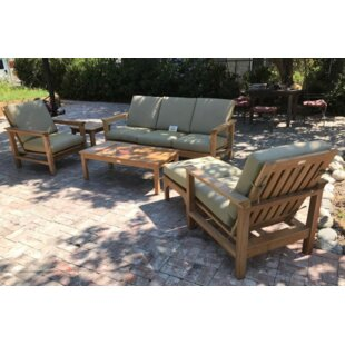 Bungalow Rose East Harptree Teak 6 Piece Sunbrella Sofa Set with Cushions