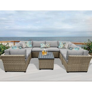 Monterey 9 Piece Sectional Seating Group with Cushions By TK Classics