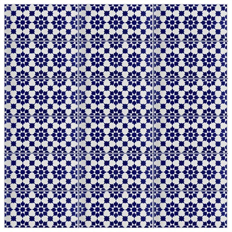 "Esna 5.5"" x 11"" Ceramic Field Tile in Blue/White #cobaltblue #bluetile #backsplashtile"