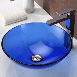 Halo Series Glass Circular Vessel Bathroom Sink ANZZI