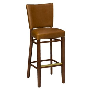 Chesebrough Beechwood Fully Upholstered Seat Bar Stool Loon Peak