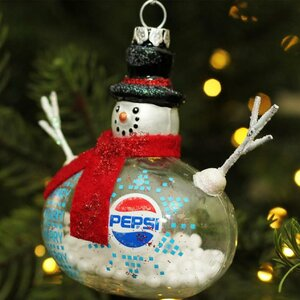 Snow Filled Glass Country Snowman Christmas Pepsi Shaped Ornament