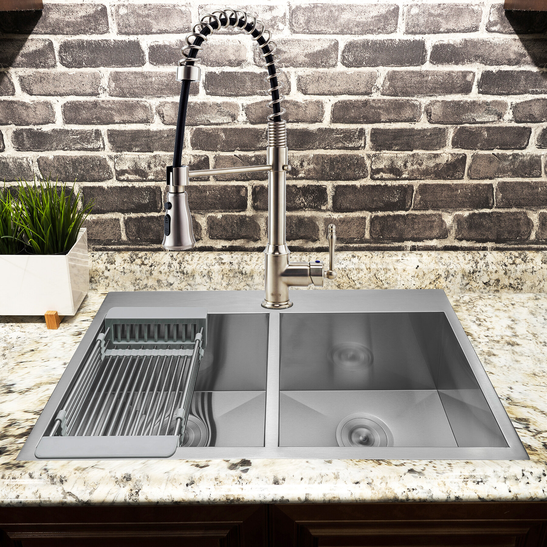 "12"" L x 12"" W Double Basin Drop-In Kitchen Sink with Faucet"