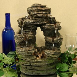 Yarborough Polyresin Split Mossy Rock Falls Tabletop Water Fountain With  Light
