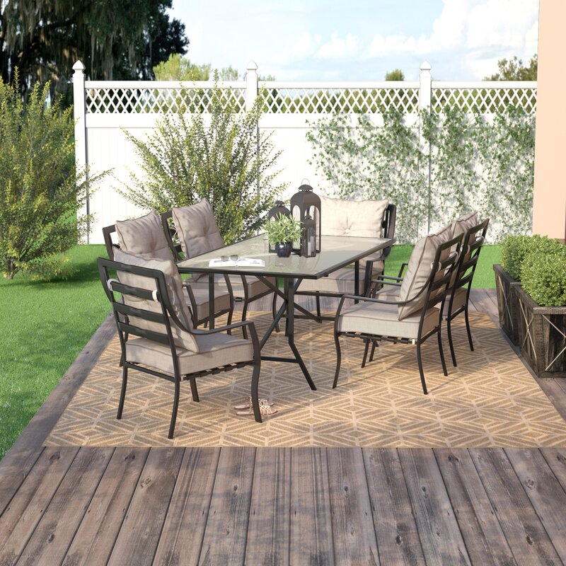 7 piece outdoor dining set broyhill sweetman piece dining set with cushion brayden studio reviews