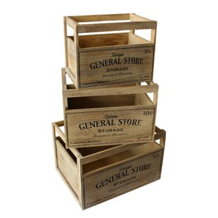 General Manufactured Wood 3 Piece Organiser Box Set By Union Rustic