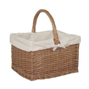 Lebeau Butcher Lined Wicker Basket With Rose Lining By August Grove