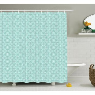 Rachel Aqua Twisted Crossed Repeating Circle Figures and Bent Line Webs Graphic Decor Single Shower Curtain