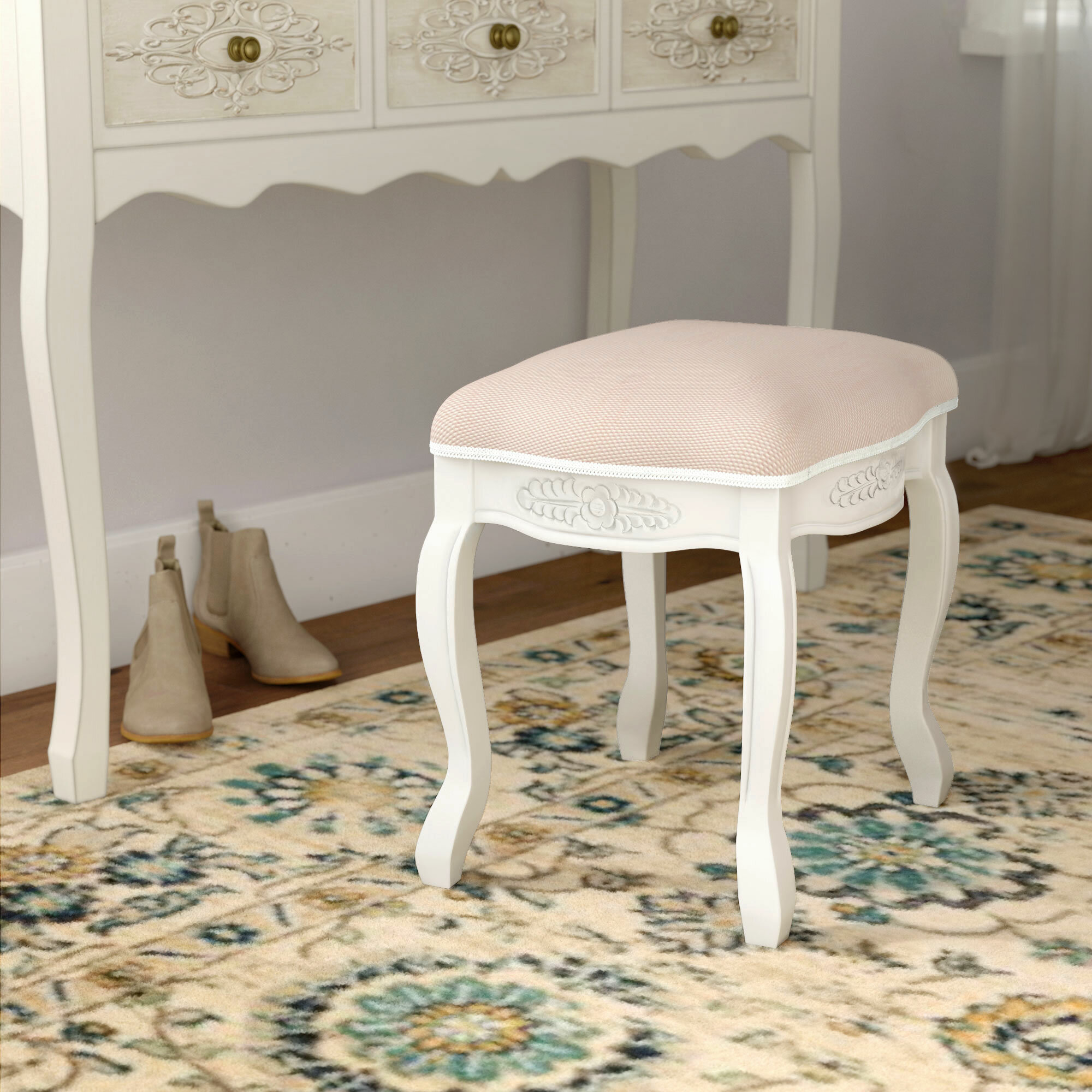 Surprising Adelinna Hand Carved Antique White Vanity Stool Alphanode Cool Chair Designs And Ideas Alphanodeonline