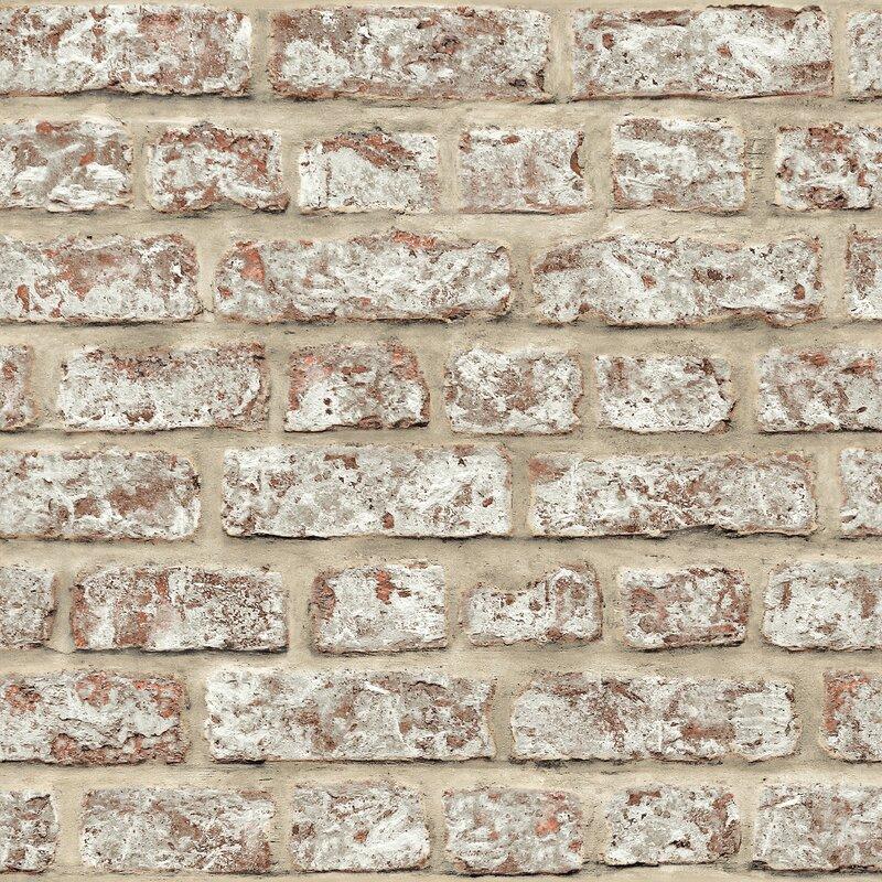 "Arthouse Rustic 33.5' x 22"" Brick Wallpaper Roll"