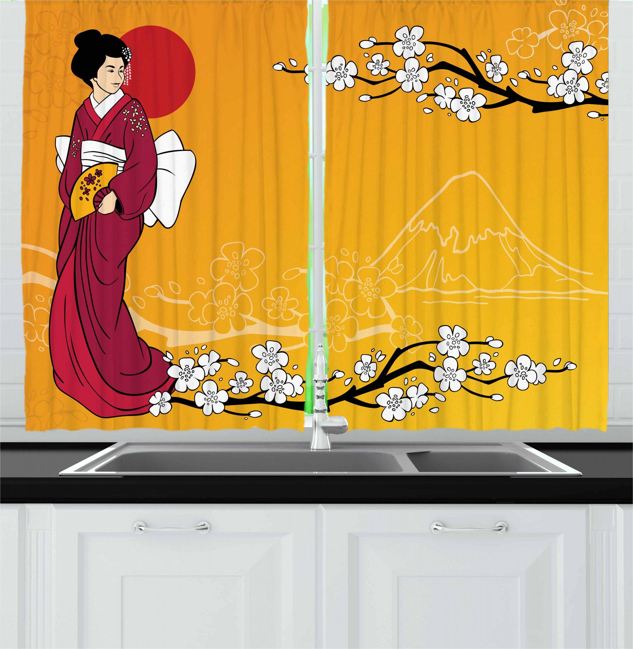 East Urban Home Cherry Blossom 2 Piece Kitchen Curtain Set Wayfair