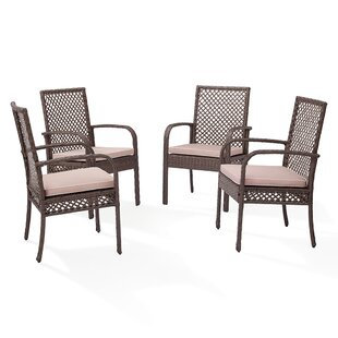 Winston Porter Peralez Patio Dining Chair with Cushion (Set of 4)