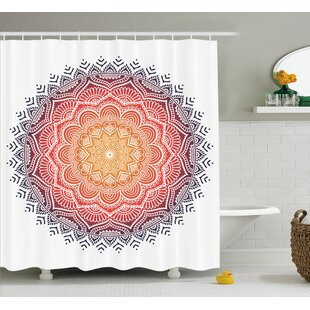 Lottie Mandala Geometric National Kaleidoscope Motif With Gradient Tone Effects Petal Heart Forms Single Shower Curtain