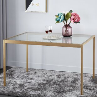 Kara Glass and Metal Dining Table by Wrought Studio