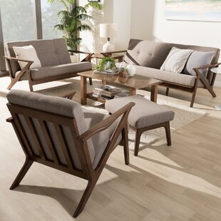 Wojtala MidCentury Modern 4 Piece Living Room Set by Union Rustic