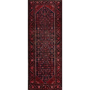 Shop For One-of-a-Kind Janesville Vintage Traditional Hamedan Persian Hand-Knotted Runner 3'4 x 9'8 Wool Burgundy/Black Area Rug By Isabelline