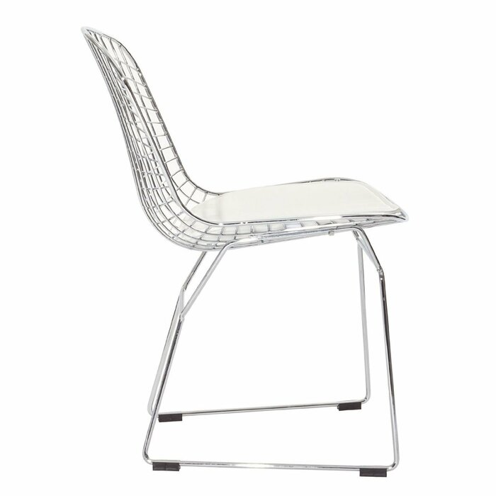 Burnie Chromed Steel Wire Frame Side Chair And Ottoman