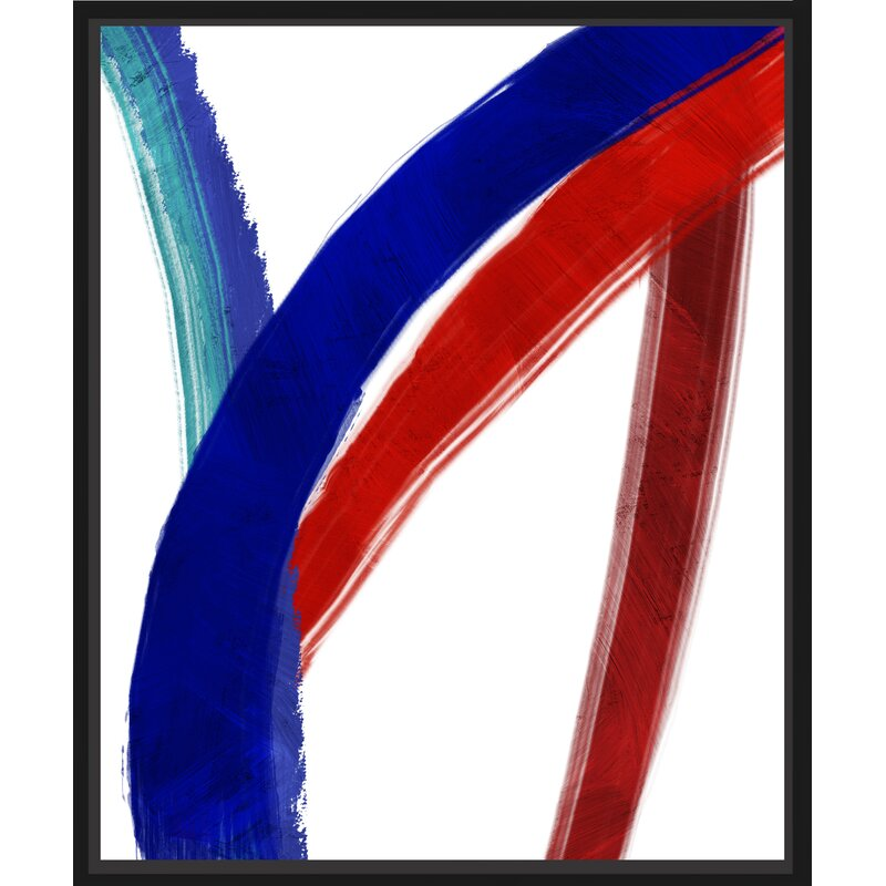 Ptm Images Blue And Red Lines Ii Floater Framed Painting Print On Wrapped Canvas Wayfair
