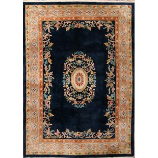 Affordable Price Indianola Art Deco Oriental Hand-Knotted Wool Red/Black/Blue Area Rug ByBloomsbury Market