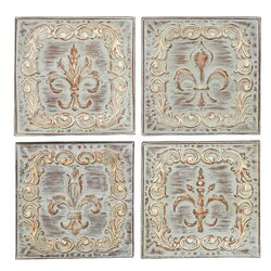 Metal Wall Artwork one allium way 4 piece brown/ivory metal wall decor set & reviews