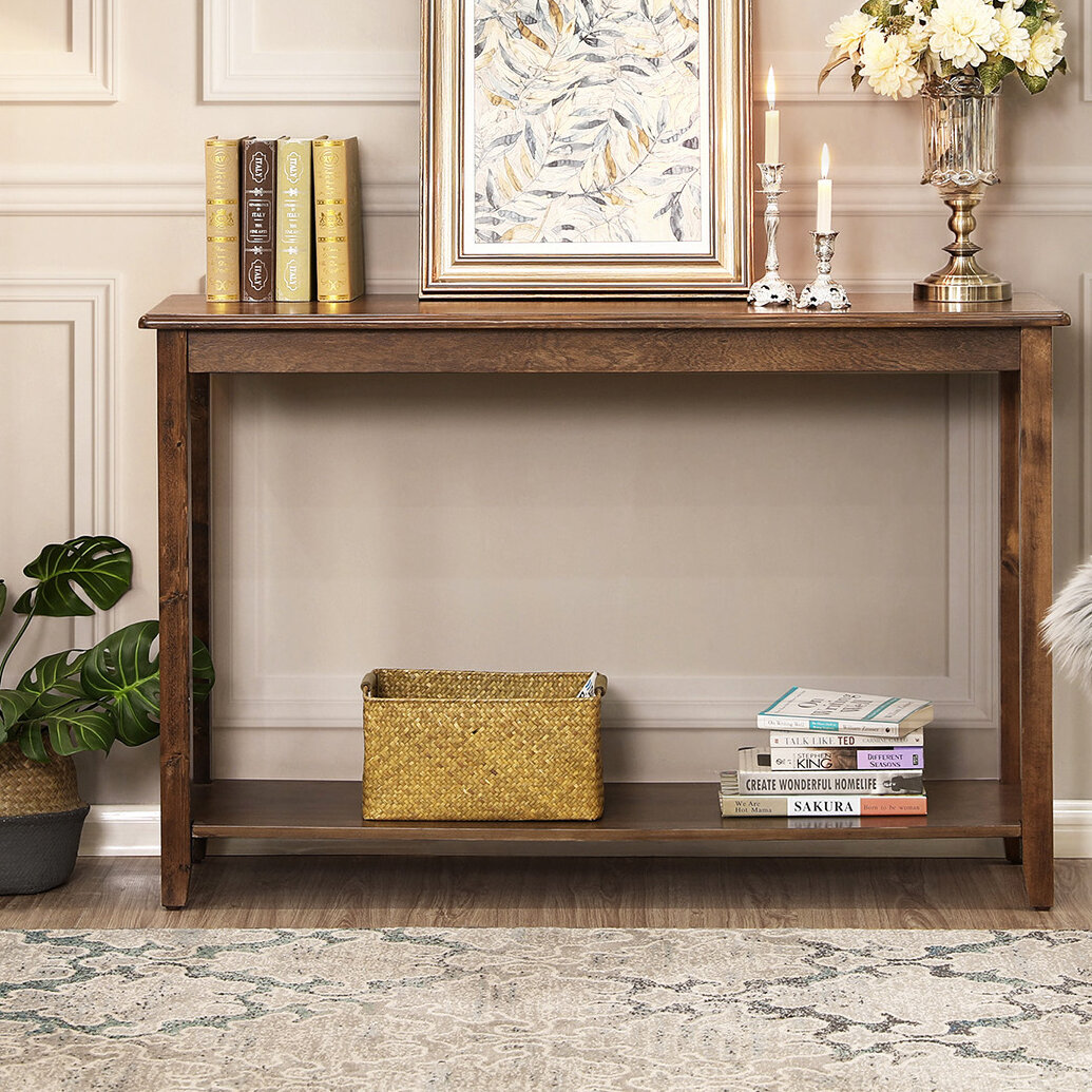 Classic Console Table Carved Legs 2 Drawers and Shelf White Hall Table