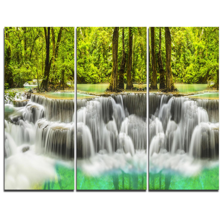 Designart Erawan Waterfall Kanchanaburi Province 3 Piece Graphic Art On Wrapped Canvas Set Wayfair