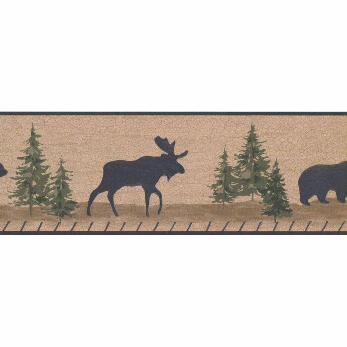 Moose Pine Trees Wallpaper Border Lodge Shawnee Silhouettes Bear Deer