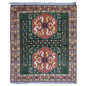 Etolin Oriental Hand-Woven Wool Green Area Rug