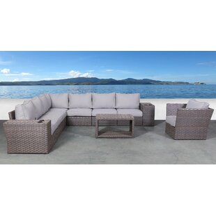 Cody 11 Piece Rattan Sectional Seating Group with Cushions