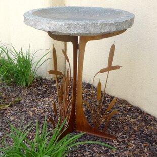 Stone Age Creations Cattails Silhouette Birdbath