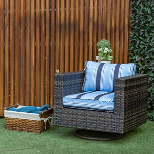 Mcnally Swivel Patio Chair with Cushion in , Mix Blue Stripe