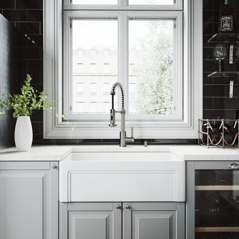"""Matte Stone 33"""" L x 18"""" W Farmhouse Kitchen Sink with Basket Strainer"""