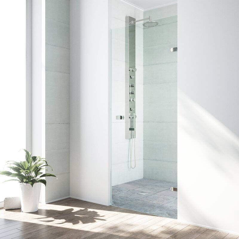 "VIGO  Tempo 26.5"" x 70.63"" Hinged Frameless Shower Door with MagnaLock Technology Finish: Brushed Stainless Steel"