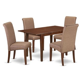 Sarai Kitchen Table 5 Piece Extendable Solid Wood Breakfast Nook Dining Set by Winston Porter