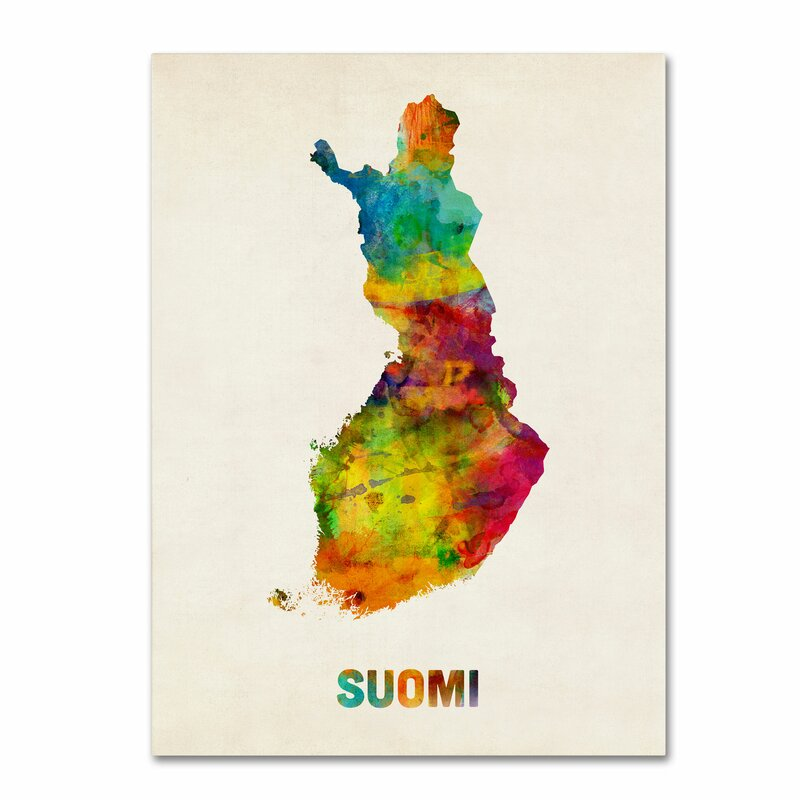 Trademark art finland watercolor map suomi by michael tompsett finland watercolor map suomi by michael tompsett graphic art on wrapped canvas gumiabroncs Image collections