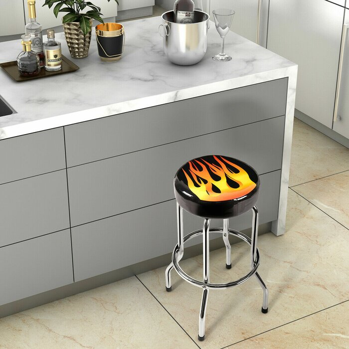 new style 0d0c1 f1df8 Emmanuel Flame Round Padded 29'' Bar Stool