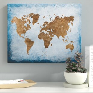 washy world map oil painting print on wrapped canvas
