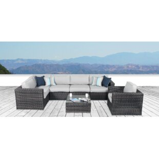 Vardin 7 Piece Rattan Sectional Set with Cushions