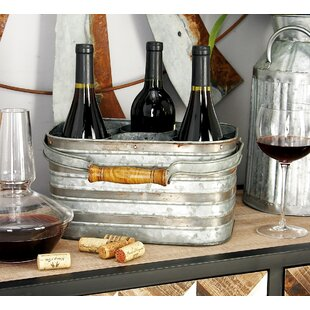 Metal Galvanize 6 Bottle Tabletop Wine Bo..