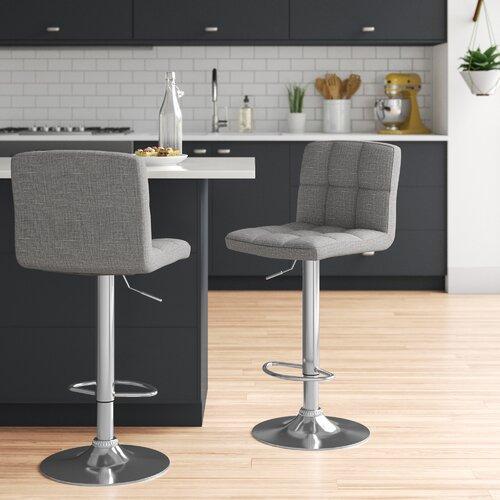 Höhenverstellbares Barstuhl-Set Laurence Zipcode Design Farbe (Polster): Grau   Küche und Esszimmer > Bar-Möbel > Barhocker   Zipcode Design