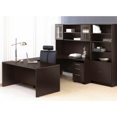 Comm Office Marta Executive 6 Piece U-Shape Desk Office Suite Color: Espresso