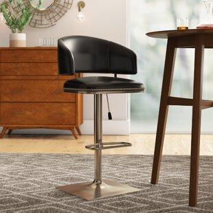 Glick Pelfrey Adjustable Height Swivel Bar Stool by Wrought Studio